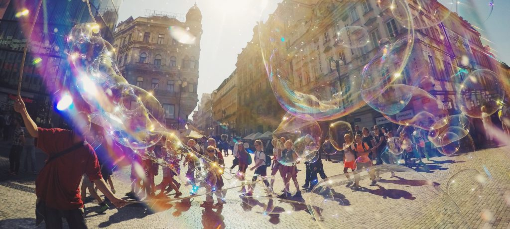 Image of street scene with bubbles